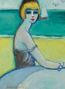 Jean-Pierre Caaigneul - Femme au bord de la mer 1968
