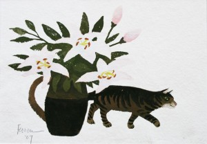 Mary Fedden - Still life with cat and flowers (Lithograph 2007)