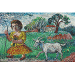 David Burliuk - Girl with goat
