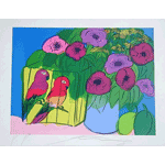 Walasse Ting - Parrots with flowers (1981)