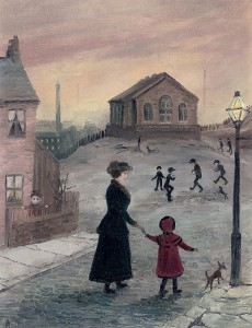 Helen Bradley - Mother and child on their way to the Wensylian Chapel