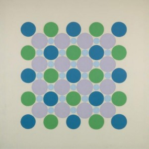 "Thomas Downing - ""Four Blue Five"" - acrylic on canvas - 66in sq."