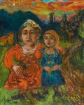 David Burliuk - Mother and Daughter (1950)