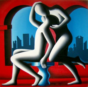 Kostabi - Archways (1991) - oil on canvas- 76x76cm