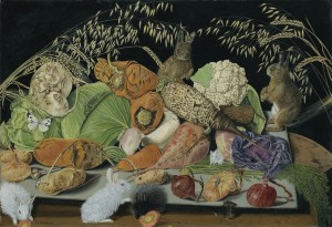 Adolf Dietrich - Still Life with vegetables, mice and rabbits (1928)