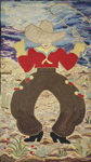 American hooked wool rug (c1940) - Cowboy
