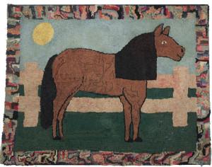 American hooked wool rug (c1930) - Horse
