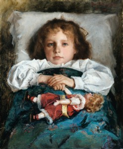Prince Paul Troubetzkoy - Portrait of a child with a doll (1912)