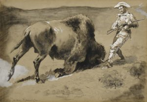 Frederic Remington - The great beast came crashing to earth